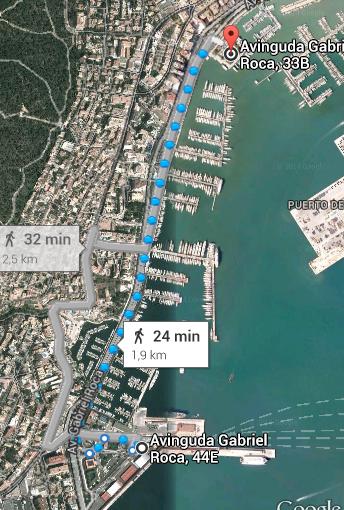 Distanza a piede dal porto di crociere al catamarano