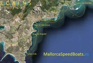 percorso Mallorca speed boats
