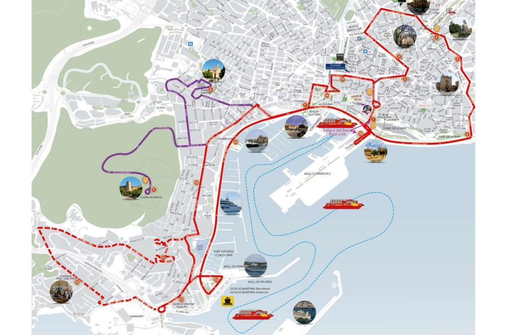 Palma de Mallorca Map City sightseeing bus